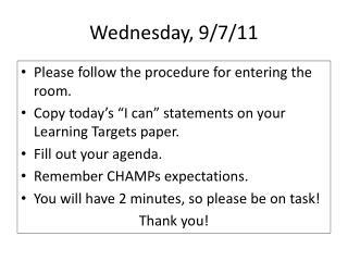 Wednesday, 9/7/11