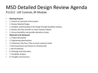 MSD Detailed Design Review Agenda P11212 : LVE Controls, RF Module