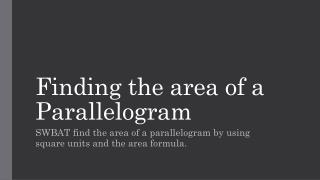 Finding the area of a Parallelogram