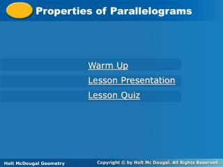 Properties of Parallelograms
