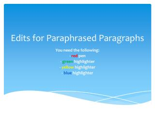 Edits for Paraphrased Paragraphs