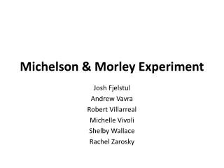 Michelson & Morley Experiment