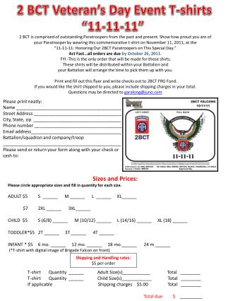 2 BCT Veteran�s Day Event T-shirts �11-11-11�