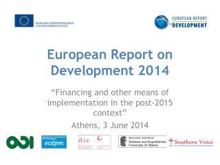 European Report on Development 2014