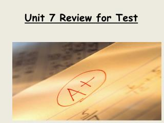 Unit 7 Review for Test