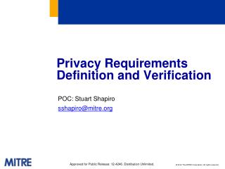 Privacy Requirements Definition and Verification
