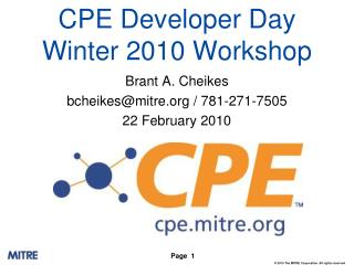 CPE Developer Day Winter 2010 Workshop