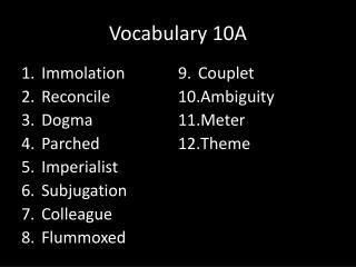 Vocabulary 10A