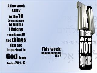 This week:  Commandments  5 & 6