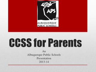CCSS for Parents