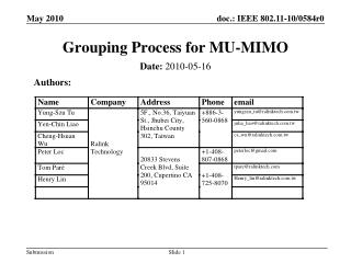 Grouping Process for MU-MIMO