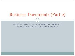 Business Documents (Part 2)