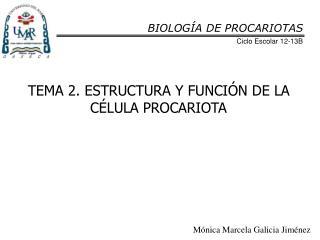 TEMA 2. ESTRUCTURA Y FUNCI�N DE LA C�LULA PROCARIOTA