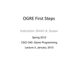 OGRE First Steps