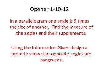 Opener 1-10-12
