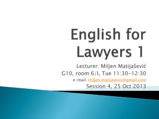 English for Lawyers 1