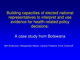 A case study from Botswana