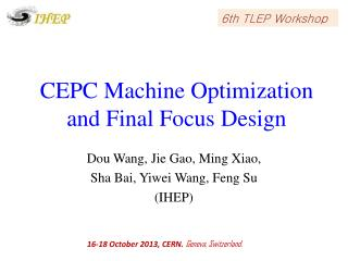 CEPC Machine Optimization and Final Focus Design