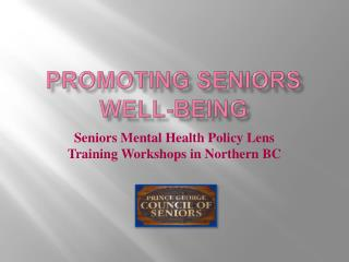 Promoting seniors well-being
