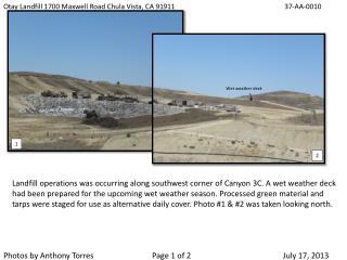 Otay Landfill 1700 Maxwell Road Chula Vista, CA 91911         37-AA-0010
