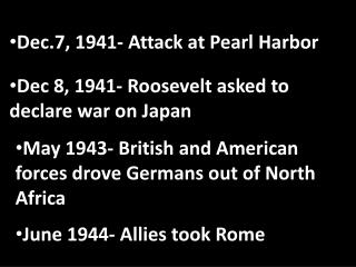 Dec.7, 1941- Attack at Pearl Harbor