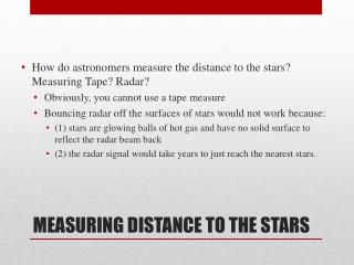 MEASURING DISTANCE TO THE STARS