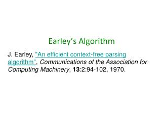 Earley's  Algorithm