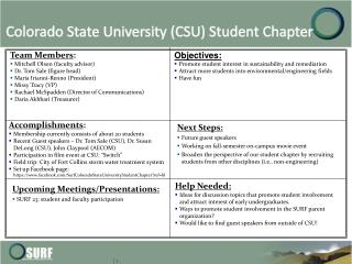 Colorado State University (CSU ) Student Chapter