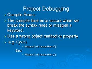 Project Debugging