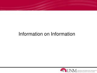 Information on Information