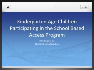 Kindergarten Age Children Participating  in the School  Based Access Program