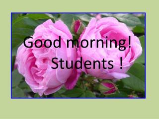 Good morning!        Students !