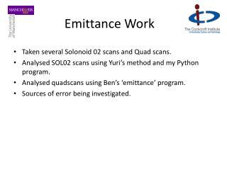 Emittance Work