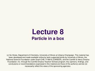 Lecture 8 Particle in a box