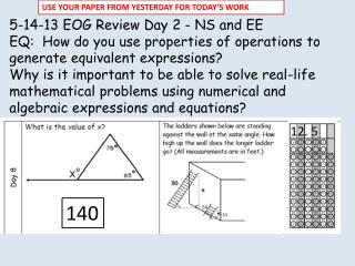 5-14-13 EOG Review Day 2 - NS and EE EQ:  How do you use properties of operations to