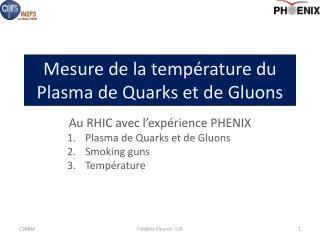 Mesure de la temp�rature du Plasma de Quarks et de Gluons