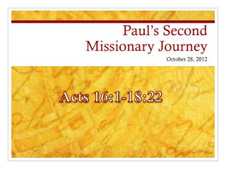 Paul's Second  Missionary Journey