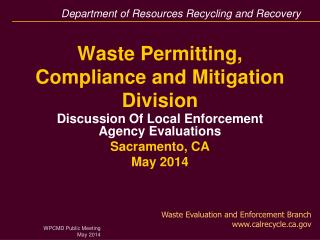 Waste Permitting, Compliance and Mitigation Division