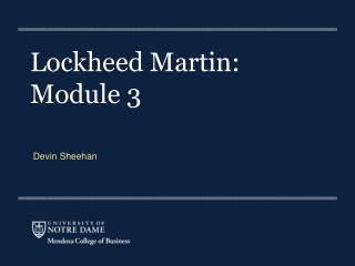 Lockheed Martin:  Module 3