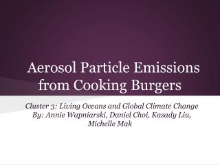 Aerosol Particle Emissions from Cooking Burgers
