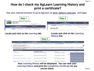 How do I check my AgLearn Learning History and print a certificate