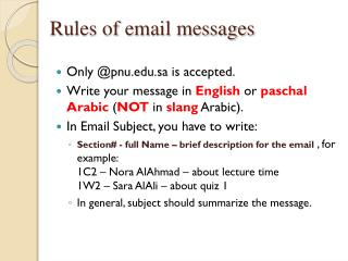 Rules of email messages