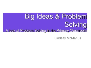 Problem Solving:  The Four Step Model