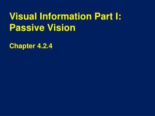 Visual Information Part  I: Passive Vision