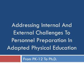 Addressing Internal And External Challenges To Personnel Preparation In Adapted Physical Education