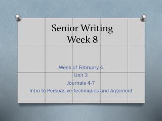 Senior Writing Week 8