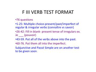 F III VERB TEST FORMAT