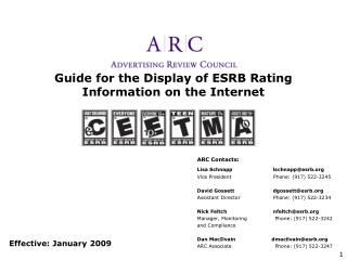 Guide for the Display of ESRB Rating Information on the Internet