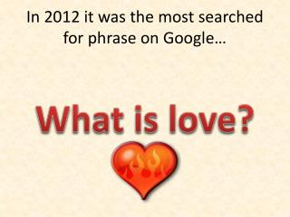 In 2012 it was the most searched for phrase on Google�