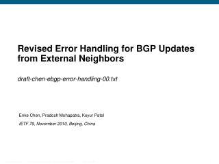 Revised Error Handling for BGP Updates from External Neighbors
